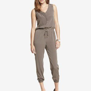 Express V-Neck Jumpsuit in Moss Green